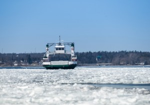 Ferry on the river in winter